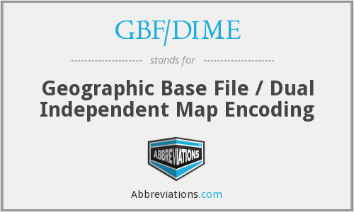 GBF/DIME - Geographic Base File / Dual Independent Map Encoding