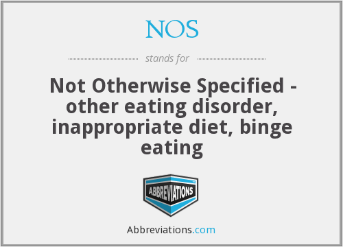 NOS - Not Otherwise Specified - other eating disorder, inappropriate diet, binge eating