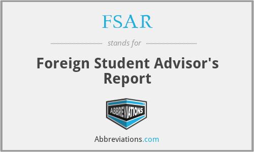 FSAR - Foreign Student Advisor's Report
