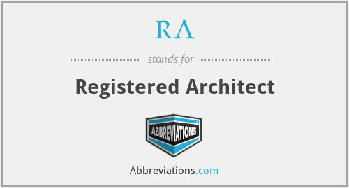 RA - Registered Architect
