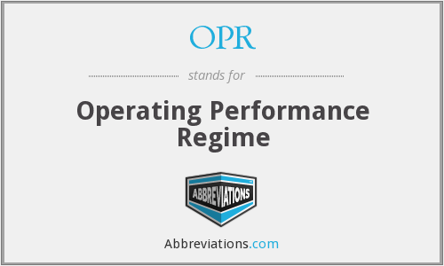 OPR - Operating Performance Regime