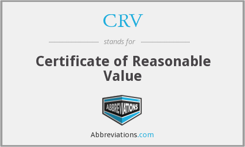 CRV - Certificate of Reasonable Value