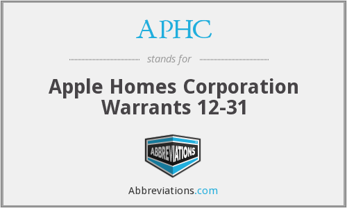 APHC - Apple Homes Corporation Warrants 12-31