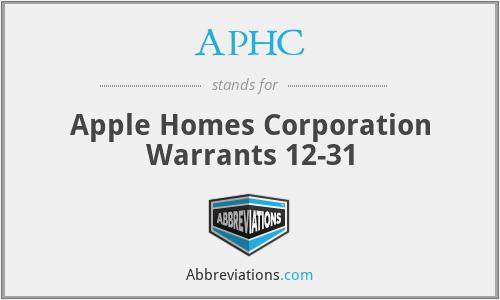 APHC - Apple Homes Corporation Warrants 12-31
