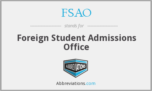 FSAO - Foreign Student Admissions Office
