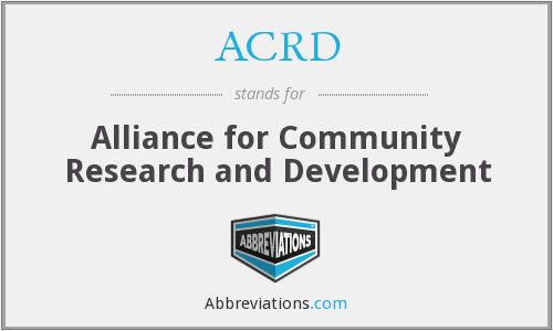 ACRD - Alliance for Community Research and Development