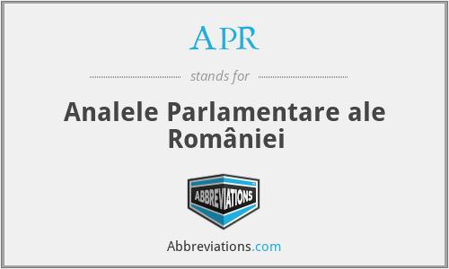 APR - Analele Parlamentare ale României