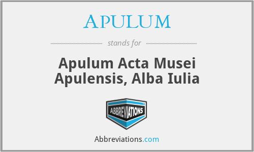 APULUM - Apulum Acta Musei Apulensis, Alba Iulia