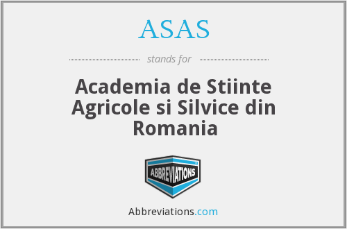 ASAS - Academia de Stiinte Agricole si Silvice din Romania