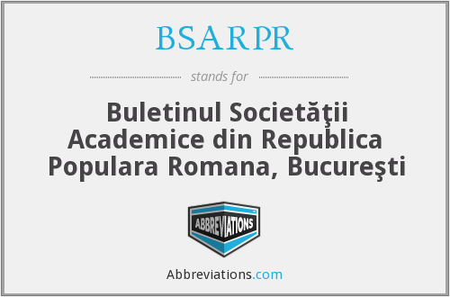 What does BSARPR stand for?