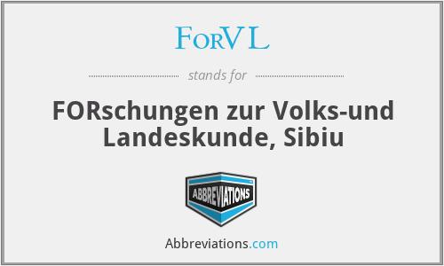 ForVL - Forschungen Zur Volks- Und Landeskunde, Sibiu