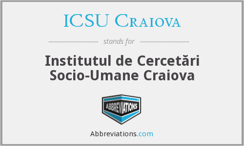 What does ICSU CRAIOVA stand for?