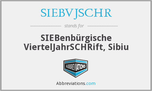 What does SIEBVJSCHR stand for?