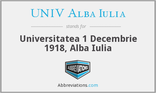 What does UNIV ALBA IULIA stand for?