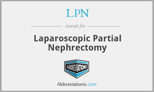 LPN - Laparoscopic Partial Nephrectomy