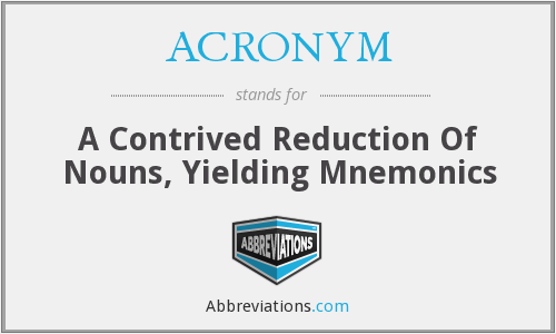 ACRONYM - A Contrived Reduction Of Nouns, Yielding Mnemonics