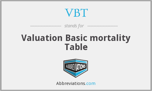 VBT - Valuation Basic mortality Table