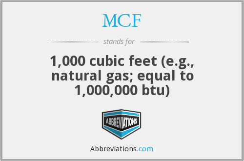MCF - 1,000 cubic feet (e.g., natural gas; equal to 1,000,000 btu)