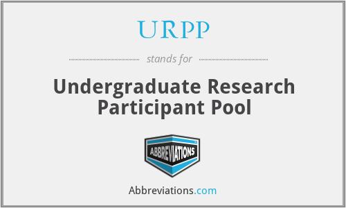 URPP - Undergraduate Research Participant Pool