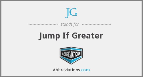 JG - Jump If Greater