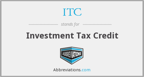 ITC - Investment Tax Credit