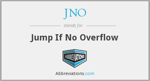JNO - Jump If No Overflow