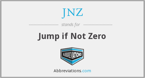 What does JNZ stand for?