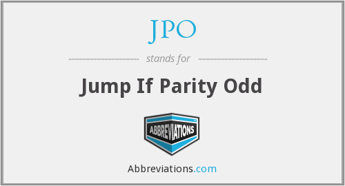 JPO - Jump If Parity Odd