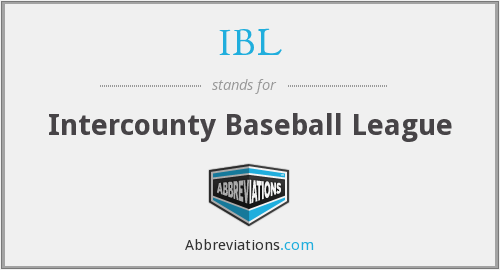 IBL - Intercounty Baseball League