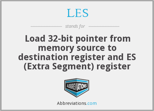 LES - Load 32-bit pointer from memory source to destination register and ES (Extra Segment) register