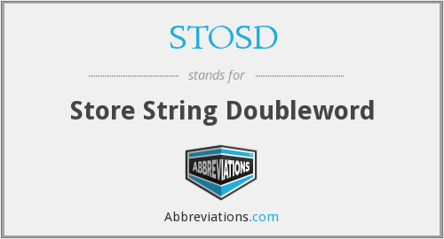 What does STOSD stand for?