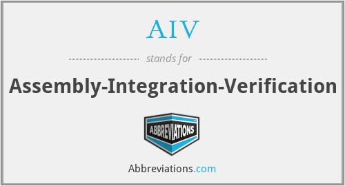 AIV - Assembly-Integration-Verification