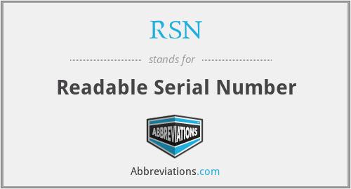 RSN - Readable Serial Number