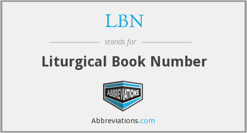 LBN - Liturgical Book Number