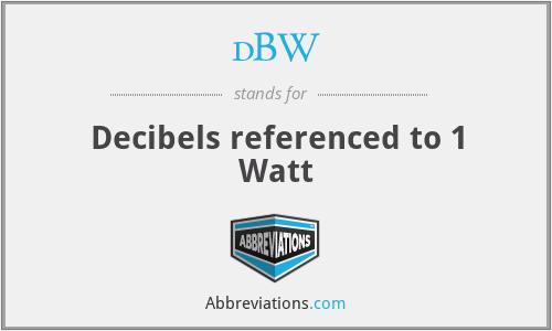 dBW - Decibels referenced to 1 Watt