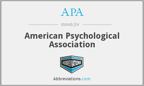 APA - American Psychological Association