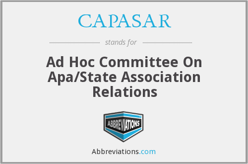 CAPASAR - Ad Hoc Committee On Apa/State Association Relations