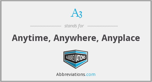 A3 - Anytime, Anywhere, Anyplace
