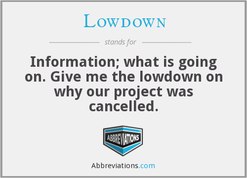 Lowdown - Information; what is going on. Give me the lowdown on why our project was cancelled.