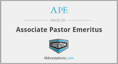 APE - Associate Pastor Emeritus