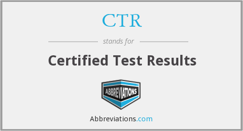CTR - Certified Test Results