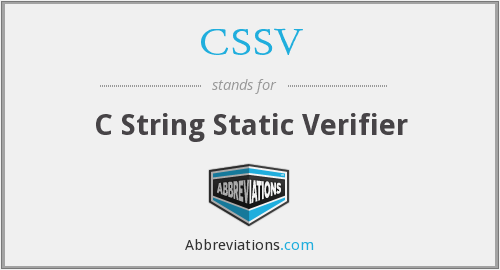 CSSV - C String Static Verifier