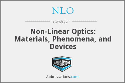 NLO - Nonlinear Optics: Materials, Phenomena and Devices