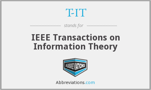 T-IT - IEEE Transactions on Information Theory