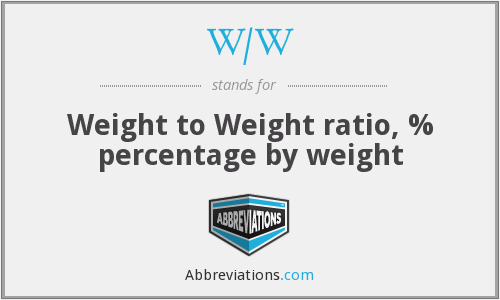 W/W - Weight to Weight ratio, % percentage by weight