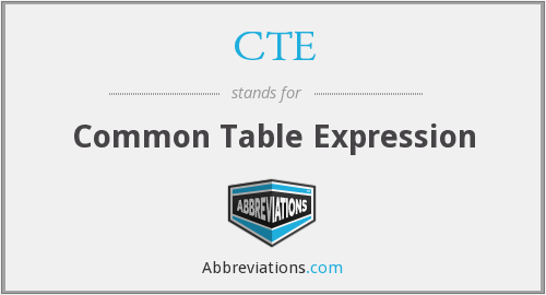 CTE - Common Table Expression