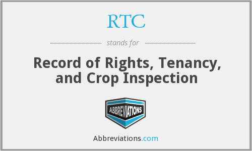RTC - Record of Rights, Tenancy, and Crop Inspection
