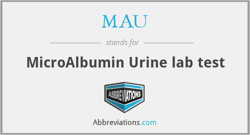 MAU - MicroAlbumin Urine lab test