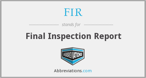 FIR - Final Inspection Report