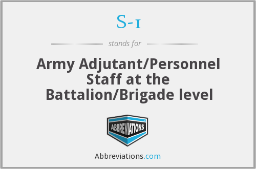 S-1 - Army Adjutant/Personnel Staff at the Battalion/Brigade level